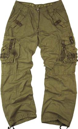 MENS MILITARY-STYLE COTTON CARGO PANTS SOLID COLOR  SIZE 32-
