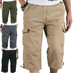 Mens Multi-Pocket 3/4 Capri Shorts Pants Elastic Waist Cargo