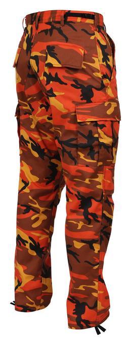 MENS ORANGE CAMO ROTHCO Military BDU Pants - Army Cargo Fati