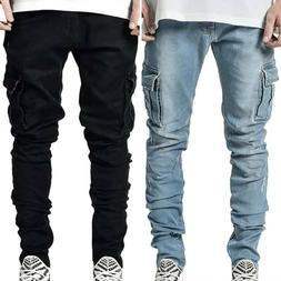 Mens Plain Pockets Denim Cargo Pants Jeans Casual Slim Fit T