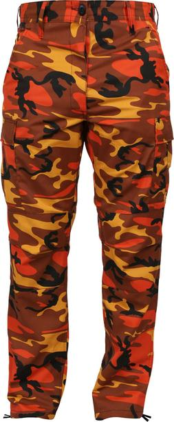 Mens Savage Orange Camouflage Cargo Army Camo Fatigues Milit