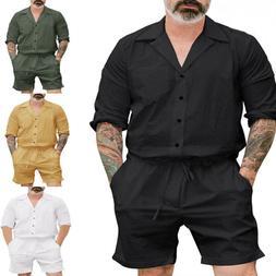 Mens Short Sleeve Romper Cargo Pants Jumpsuit One-Piece Trou