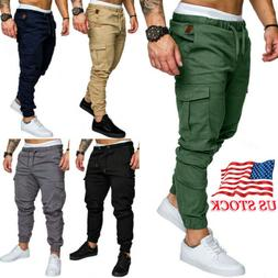 Mens Slim Pocket Fit Urban Straight Leg Trousers Pencil Jogg