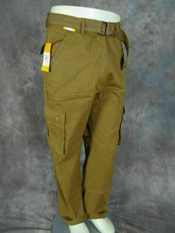 Mens Twill CARGO PANTS British Khaki CASUAL Button Flaps wit