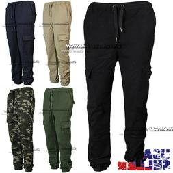 Mens Casual Pants Cargo Pockets Twill Jogger Stretch Slim Fi