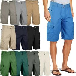mens twill cargo shorts with belt 30
