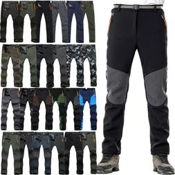 Men Fleece Outdoor Hiking Pants Climbing Tactical Combat Cas