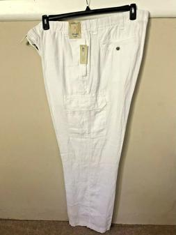 Caribbean Mens White Linen Drawstring Cargo Pants Big & Tall