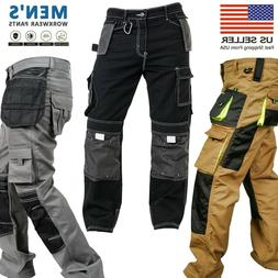 Mens Work worker Safety Cordura Trousers Kneepad Cargo Pocke