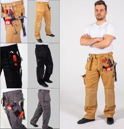 Mens Workwear Trousers Cargo Utility Work Pants with Cordura