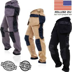 Mens WorkWear Trousers Cargo Combat Cordura Knee Reinforceme
