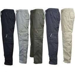 Military Men's Elastic Waist Cotton Cargo Pants Combat Camo