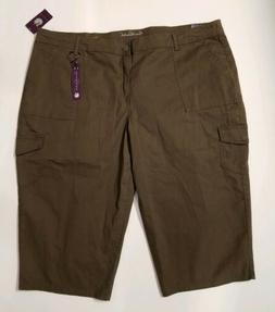 New Gloria Vanderbilt Capri Cargo Pants Size 24W Brown Women