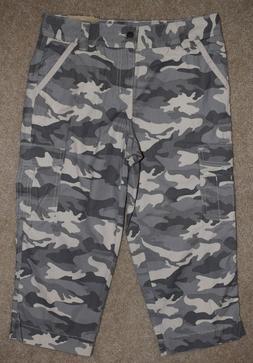 New Carhartt El Paso Cropped Pants Gray Camo Cargo Capris Re