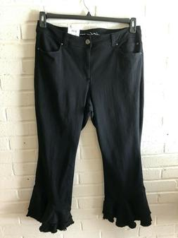 New INC Woman's Ruffle Hem Ankle  Pants  Plus Sizes  Black