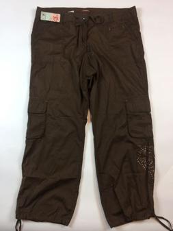 NEW Unionbay Juniors Pants 22 Plus Size Brown Cotton Cargo D