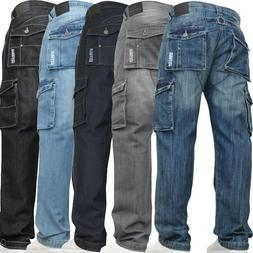 New Mens Denim And Dye Casual Cargo Combat Work Pants Jeans