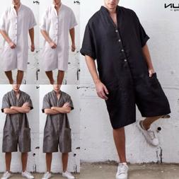 NEW  One Piece Men's Linen Short Sleeve Jumpsuit Rompers Cas