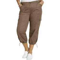 New Style & Co Women's Mid Rise Capri Cargo Pants Plus Size