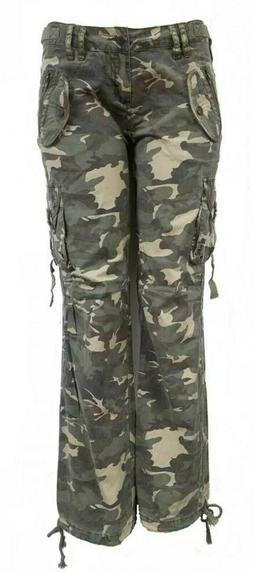 NEW WOMEN'S CAMOUFLAGE RELAXED FIT PANTS CAMO ARMY CARGO MIL