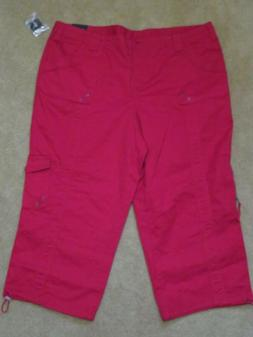 New Women's Style & Co. Solid Red Cargo Capris  Plus Size 18