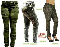 NEW WOMENS PLUS SIZE Stretch ARMY Camo Camouflage Skinny JEA