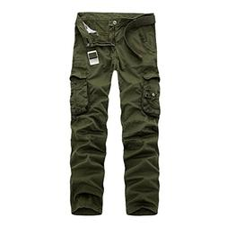 NiuZi Mens Cotton Loose Fit Casual Cargo Camo Work Pants