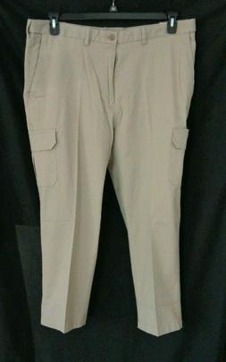 NWT Haggar Khaki cargo classic fit expandable waist pants me