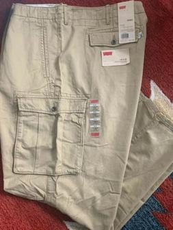 Nwt Levi's Big & Tall Men's 54 x 32 Khaki Tan Cargo Pants S2