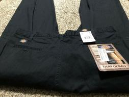 NWT DICKIES LOOSE FIT WORK CARGO PANTS BLACK 100% COTTON NEW