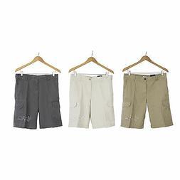 "NWT IZOD Men Flat Front Cargo Shorts Pants 100% Cotton 10.5"""