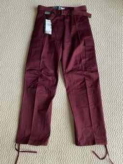 NWT Men's Regal Wear Burgundy Red Cargo Pocket Pants w/ Belt