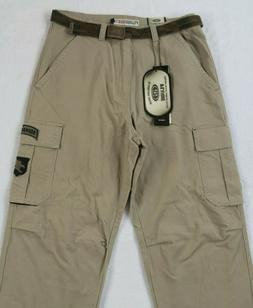 NWT Plugg Men's Cargo Khaki Chino Pants With Camo Belt - Tag