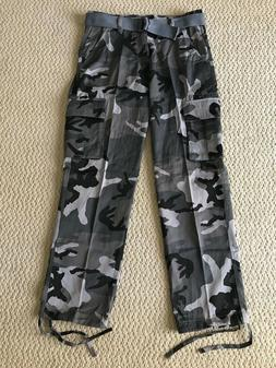 NWT Men's Swaggers City Gray Camouflage Camo Cargo Pocket Pa