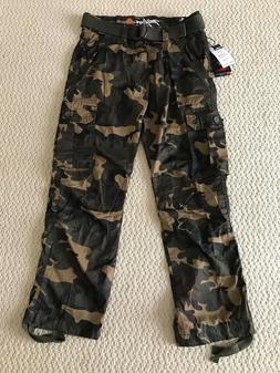 NWT Men's Miskeen Green Camouflage Camo Cargo Pocket Pants w