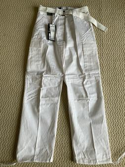 NWT Men's Regal Wear Solid White Cargo Pocket Pants w/ Belt
