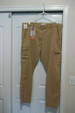 NWT WRANGLERS MEN'S TAN CARGO PANTS TAPER FIT STRETCH 9 POCK