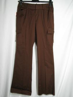 NWT Saks Fifth Ave S5A CARGO PANTS Dark Brown BETH FIT Satee