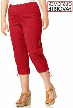Style&Co Women's Red Capri Cargo Pants Plus Sizes 14W/16W/1