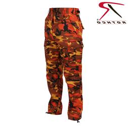 ORANGE CAMOFLAGE MEN ROTHCO BDU Pants Savage Orange Camo Mil
