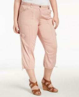 Style Co Plus Women's sz 18W Pink Mid Rise Capri Cargo Skinn