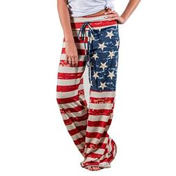 Women Pants Neartime Print Loose Casual Pants American Flag