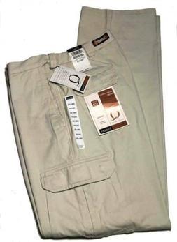 Haggar Q Cargo Pants Khaki Expandable Waist Relaxed Men's Si