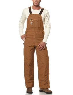 Carhartt Men's Quilt Lined Zip To Thigh Bib Overalls,Brown,3