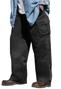 Boulder Creek Men's Big & Tall Side Elastic Cargo Pants, Bla