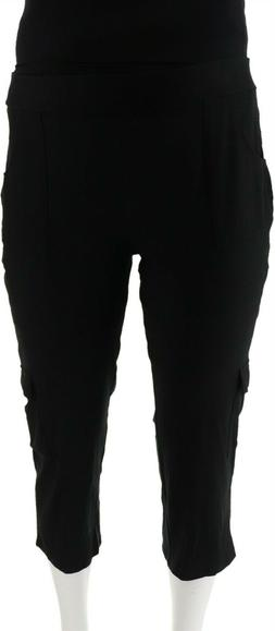 Women with Control Simplicity Casual Fit Crop Cargo Pants Bl