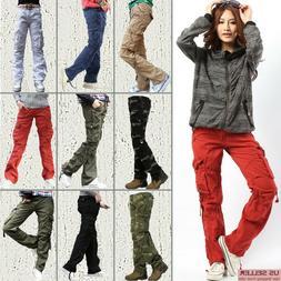SKYLINEWEARS Women's Cargo Pants Solid Military Army Styles