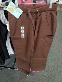 Soft Full Elastic Cargo Scrub Pants Espresso Petite Length b
