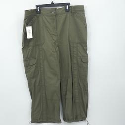 Style & Co Plus Size Capri Cargo Pants ARMY GREEN Women's Si