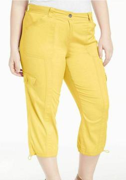 STYLE&CO Women's Plus Yellow Breeze Cargo Capri Pants Comfor